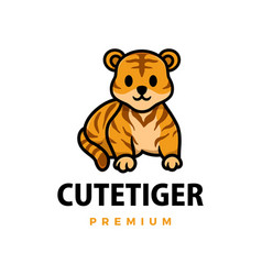cute tiger cartoon logo icon vector image