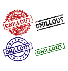 Damaged textured chillout seal stamps vector