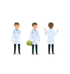 Doctor conducts examination prescribes medicines vector