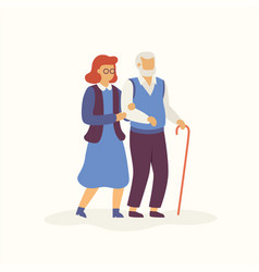 elderly is walking in autumn concept flat vector image