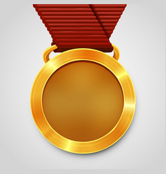 Empty award gold medal with red ribbon vector