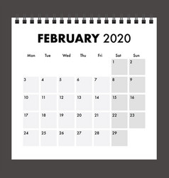 February 2020 calendar with wire bind vector