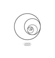 Fibonacci sequence circle golden ratio logo icon vector