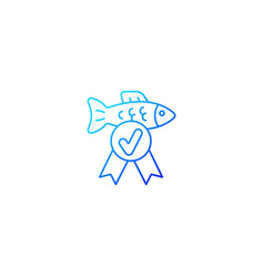 Fish quality control gradient linear icon vector