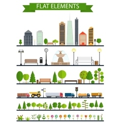 Flat City Park Forest Road Elements vector image