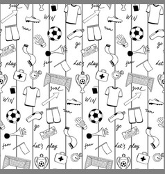 Football doodle striped seamless pattern vector
