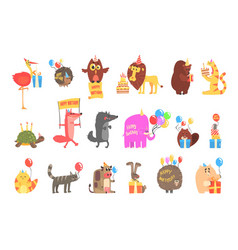 Funky animals with party attributes at kids vector