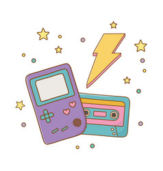Game boy cassette and lighting vector