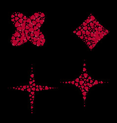 geometric shapes filled with hearts on a black vector image