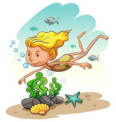 Girl enjoying underwater vector image