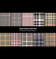 Glen check plaid pattern set vector