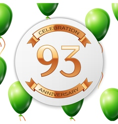 Golden number ninety three years anniversary vector image