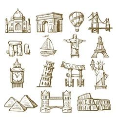 hand drawn landmarks vector image