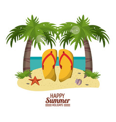 Happy summer holidays poster beach with flip vector
