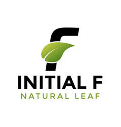 initial letter f and leaf logo icon design vector image