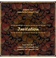 invitation card with quince apples vector image