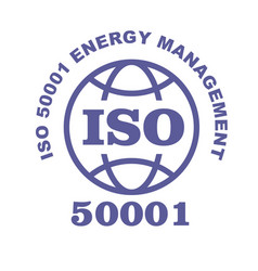 iso 50001 stamp sign - energy management systems vector image