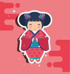 Japanese kokeshi doll kimono vector