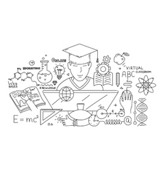 Line style design concept of e-learning and online vector