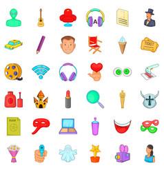 make up icons set cartoon style vector image