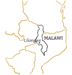 Malawi hand-drawn sketch map vector