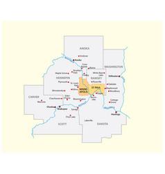map minneapolis-saint paul metropolitan area vector image