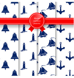 Marine summer seamless pattern vector