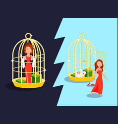 Marriage golden cage concept vector