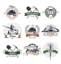 mining industry emblems set vector image
