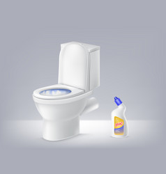 Mock up 3d toilet bowl liquid disinfectant vector