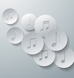 Music Notes Cut in Paper Circles Background vector