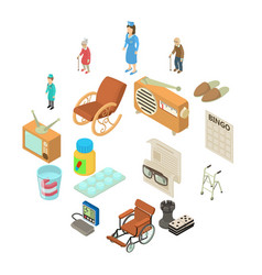 Nursing home icons set isometric style vector