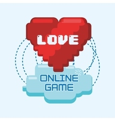 Online games love heart pixel connect vector