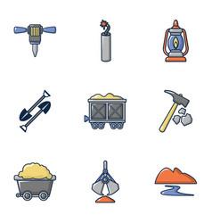 Ore mining icons set cartoon style vector