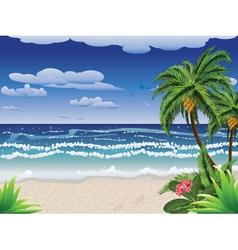 Palm tree on beach2 vector