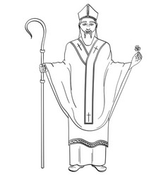 Patron saint of ireland saint patrick holding a vector
