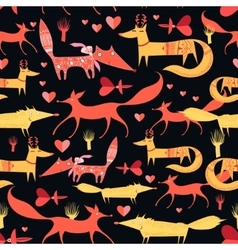 Pattern of foxes vector