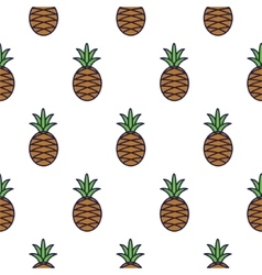 Pineapple line icon seamless pattern vector