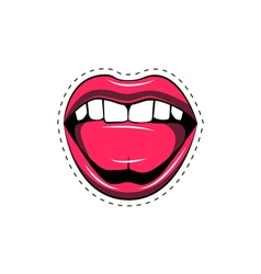 Pink lips tongue pop art retro poster element vector
