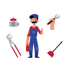 plumber man thumbs up and tools vector image
