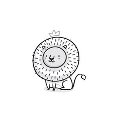 print with cute lion king in black and white vector image