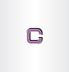 Purple letter c logotype sign element icon vector