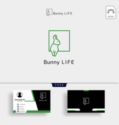 rabbit bunny logo template with business card vector image