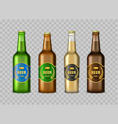 realistic detailed 3d glass beer bottles set vector image