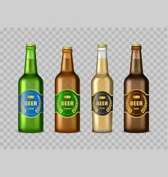 realistic detailed 3d glass beer bottles set vector image
