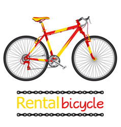 rent bicycle rental bike for tourists in flat vector image