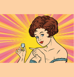 Retro lady offers a drink vodka vector