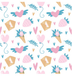seamless pattern for valentine s day in vector image