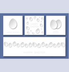 set of happy easter minimalistic cards with vector image