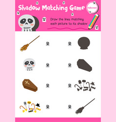 Shadow matching game halloween 8 vector